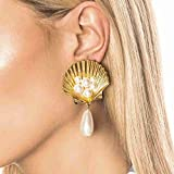 TianranRT★ Women's Earrings,Simple Pearl Pearl Personality Metal Scallop Star Ladies Jewelry Scalloped Star Earrings,Gold