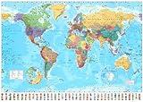 Póster de gran tamaño 'Mapa del mundo', Tamaño: 140 x 99 cm