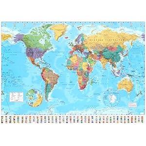 Póster de gran tamaño 'Mapa del mundo', Tamaño: 140 x 99 c (Versión En Inglés)