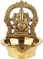 Poompuhar Brass Ganapathy Deepam (12 cm x 3 cm x 15 cm, Yellow)