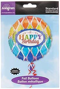"Amscan International-3356901""arco iris feliz cumpleaños holográfica"" estándar Foil Balloon"