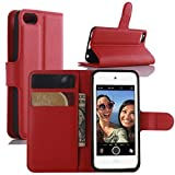 iPod Touch 5 / 6 Hülle, iPod Touch 5G / 6G Hülle, HualuBro [All Around Schutz] Premium PU Leder Wallet Flip Handy Schutzhülle Tasche Case Cover mit Karten Slot für Apple iPod Touch 5 / 6 Generation Smartphone (Rot)