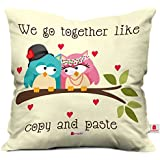 Indigifts Cute Love Couple Gift Valentine Together Couple Cushion Cover 12X12 With Filler - White