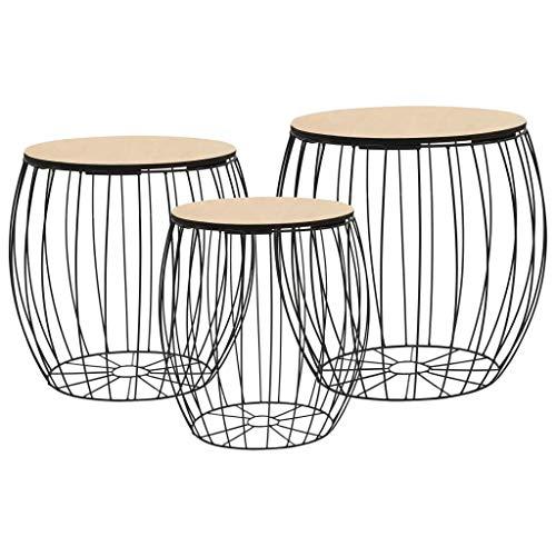 Festnight- Tables gigognes Table Basse 3pcs Table de Salon Table Basse Design en Bois Massif Noir en Fer