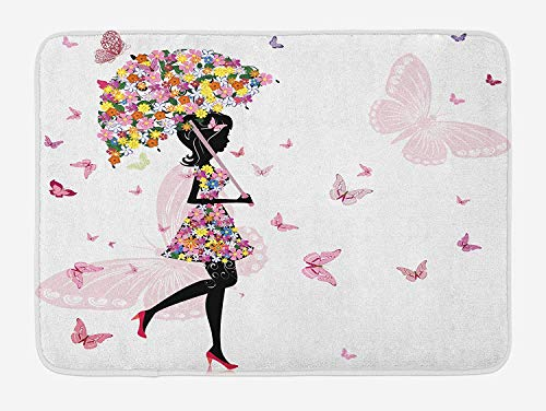 with Floral Umbrella and Dress Walking with Butterflies Inspirational Art Print, Plush Bathroom Decor Mat with Non Slip Backing, 23.6 W X 15.7 W Inches, Pink Black ()