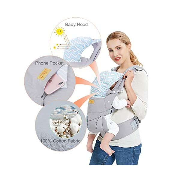 """Viedouce Baby Carrier Ergonomic/Pure Cotton More Lightweight and Breathable/Multiposition: Dorsal and Ventral/Adjustable Headrest/for Newborn and Toddler 3 to 48 Month (3.5 to 20 kg) Viedouce 【Pure Cotton】- All our baby carriers are made of high quality fabric and free from harmful substances. The fabric is breathable, skin-friendly and soft, it is made of premium natural pure cotton to to keep baby's soft skin safe and comfort baby wearing in four seasons. Adequate safety tests ensure the soft fabrics gently hug your baby's back, legs and hips, and provide good support. 【Ergonomic Design】- Our ergonomic backpack carrier makes it easy for you to give your child the closeness and security they need. You can see and feel your baby's position and the natural C curve of their back.Ergonomic Butterfly adjustable seat and leg openings facilitates the thighs, knees and lower legs to be correctly placed and supported in an M shape that prevents """"Developmental Hip Dysplasia"""". 【Waist Belt & Shoulder Straps】- Upgraded wide waist belt and shoulder straps padded with soft material eases pressure on the back and shoulder, releasesing burden in a large extent when you carry your baby. Luxuriously thick and soft padding in the shoulder straps give you superior carrying comfort and prevent straps from slipping off. Adjustable shoulder straps are suitable for moms and dads of all shapes and sizes. You won't feel tired while carrying baby for a long time. 2"""