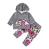 Kinderkleidung Set Kleinkind Baby Mädchen Jungen2pcs Baby-Mädchen Kleidung Stellte Blumen Hoodie Oberseiten Hosen Outfits Set LMMVP(6-24Monat