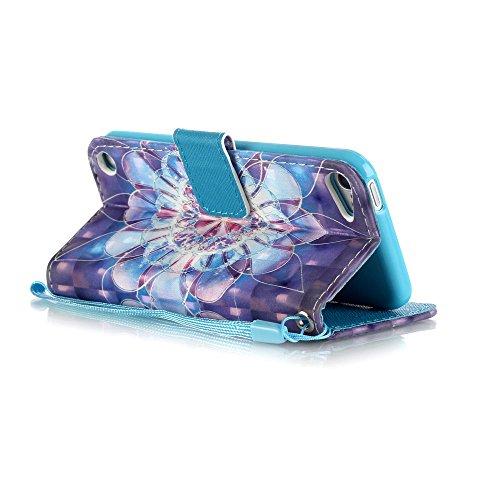 iPod touch 5/iPod touch 6 Custodia, Ukayfe 2016 Modello Bumper Slim Folio Protectiva Custodia portafoglio / wallet / libro in pelle - 3D Disegni Retro Ciliegio Modello Sollievo Con Cinturino da Polso  Fiore di Cristallo