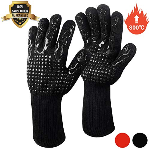 Fesoar Grillhandschuhe,Ofenhandschuhe Hitzebeständig BBQ Handschuhe Kochenhandschuhe bis zu 800°C 1 Paar Rutschfeste mit Silikon EN407 für Grill,Kochen,Backen,Schweißen...