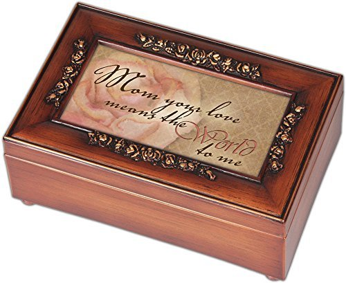 MOM Ihre Liebe Holz-Finish Rose Schmuck Musik Box, Wood Plays Song You Are My Sunshine, 4 x 6 -