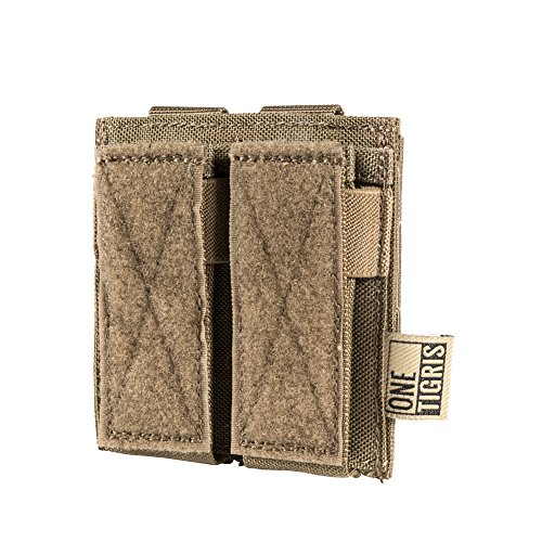 OneTigris MOLLE Taktische Pistole Magazinetasche mit 1/2 Mag Pouch für M1911/92F/GLOCK (Braun-Doppel Pistole) |MEHRWEG Verpackung