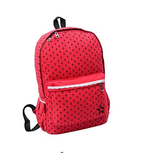 HONEY Klein Frisch Leinwand Rucksack Japan und Südkorea Reise und Freizeit Drucken Schultasche (Farbe : Red) -
