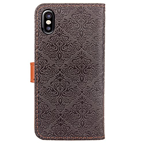 CaseforYou Hülle iphone X Schutz Gehäuse Hülse Vintage Leather Wallet Case Flip Stand Cover Full Body Pocket Cover with Card Holders and Genuine Leather Buckle Schutzhülle für iphone X Handy (Purple) Grey