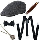 ArtiDeco - Set di accessori anni '20 / Per costume da uomo, con cappello Panama da gangster, bretelle elastiche regolabili, orologio, collana, fiocco, Papillon, tasche e sigaro in plastica