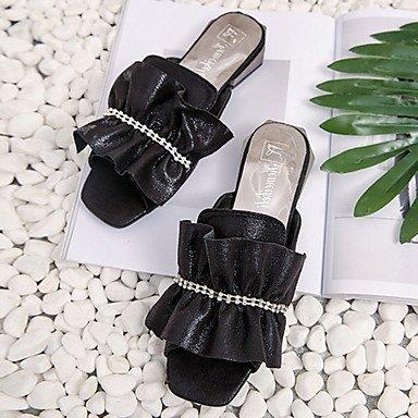 LvYuan Da donna Sandali PU (Poliuretano) Primavera Estate Con balze Piatto Nero Argento Grigio Meno di 2,5 cm Black