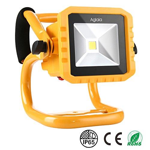 LED Fluter 10W, Aglaia 800LM Tragbares Wiederaufladbares Arbeitslicht mit 3 Stufen Helligkeit und Zusätzlichem USB Anschluss, IP65 Wasserdicht für Outdoor Camping, Angeln, Notfall