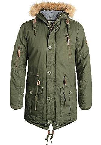 SOLID Clark Herren Parka Winterjacke mit hochabschließendem Kragen und Kapuze aus 100% Baumwolle, Größe:L, Farbe:Ivy Green (3797)
