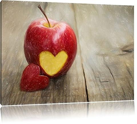 Herzschnitzerei in fruchtigem Apfel Kunst Buntstift Effekt, Format: 80x60 auf Leinwand, XXL riesige Bilder fertig gerahmt mit Keilrahmen, Kunstdruck auf Wandbild mit Rahmen, günstiger als Gemälde oder Ölbild, kein Poster oder Plakat