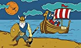 Fanshop Lünen Fahne - Flagge - Wikinger - Piraten - Pirat - Schiff - Krieger - Wolken - Sonne - 90x150 cm - Hissfahne mit Ösen -