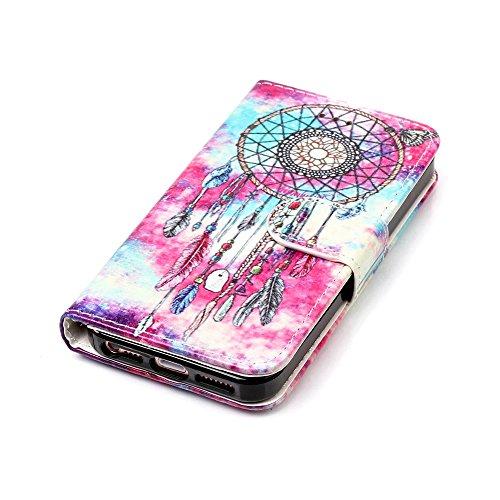 """MOONCASE iPhone 5/iPhone 5s/iPhone SE Hülle, [Colorful Pattern] Stoßfest Ganzkörper Schutzhülle mit Ständer Leder Handytasche Case für iPhone SE 4.0"""" Pink Green Chimes"""