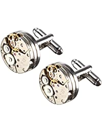 Baban Cufflinks, Deluxe Steampunk Vintage Watch Movement Shape Cufflinks(1 pair), Come with An Elegant Storage Display Box, Valentines Festival Birthday Anniversary Graduation Gift for Men/Women