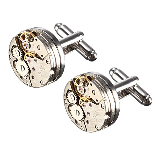 - 51nb2FCnTJL - BABAN Deluxe Steampunk Watch Mens Vintage Watch Movement Shape Cufflinks Come In An Elegant Storage Display Box