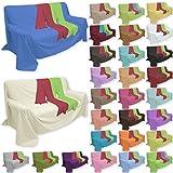 Qool24 Überwurf Popeline Baumwollstoff in viele Farben und Größen Sofaüberwurf Bettüberwurf Grün 210 x 240 cm