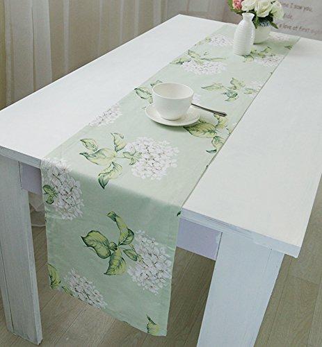 EKEA-Home® ekea-Home, europäische Baumwolle Tischläufer Ohne Quaste Weiß Blume 1, weiße Blumen, 30 * 180cm