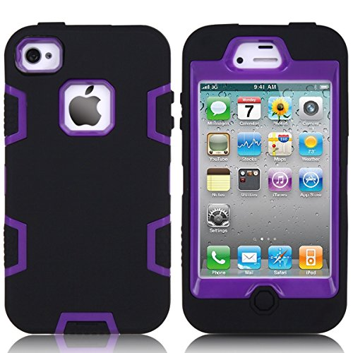casefirst iPhone 4 4s Case, Back Case Soft Shell Protective Durable Shockproof Case for iPhone 4 4s - Black + Purple (Carry Für 4s Case Iphone)