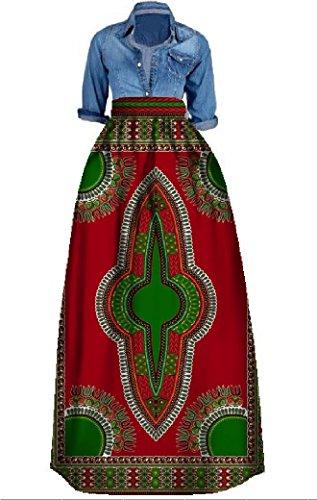 Outgobuy Damen Traditionelles afrikanisches Dashiki Kleid Langes Maxi EIN Linie Rock Ballkleid (XXXXXL, Rot + Grün)