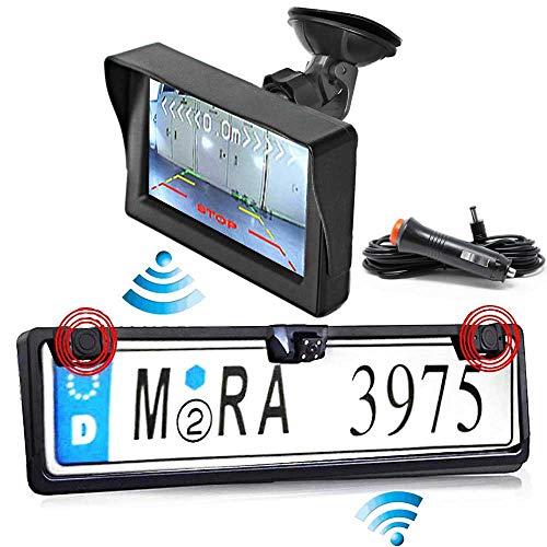 RFK-25 Nummernschild Kabellose Funk Rückfahrkamera mit Parksensor für Nur Hinten inkl. Autoscheibe Monitor - Bis zu 5 Jahre Garantie für Auto, Transporter, Wohnmobile und Bus - Rear View Camera Kamera