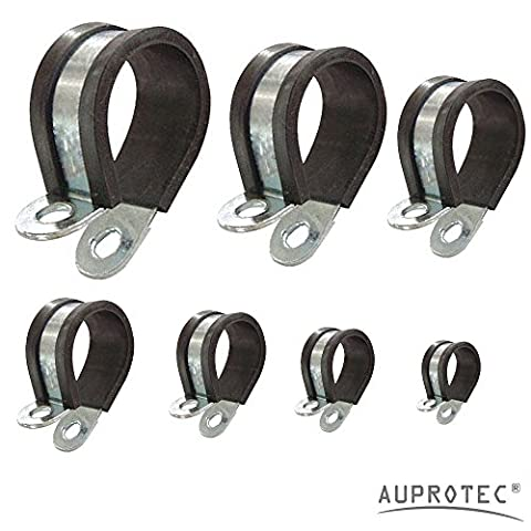 P-clips Rubber lined Steel Pipe Clip Clamp choice: Ø 20mm / band 20mm, 10 pcs