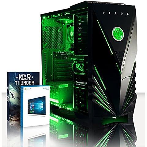 VIBOX Destroyer 7 - 4,3GHz CPU 4 CoreAMDFX, RX 460 GPU, Extremo, Ordenador de sobremesa para oficina Gaming con unidad central, Windows10, Iluminaciàninterna verde (4,2GHz (4,3GHz Turbo) SuperrápidoprocesadorQuad4-CoreCPU de AMDFX4350, AMD Radeon RX 460 2GB Tarjeta Gráfica, 16 GB Memoria RAM de DDR3, velocidad de RAM: 1600MHz, 1TB(1000GB)SataIII7200 rpmdiscoduroHDD, 85+ PSU500W, Caja deViboxverde)