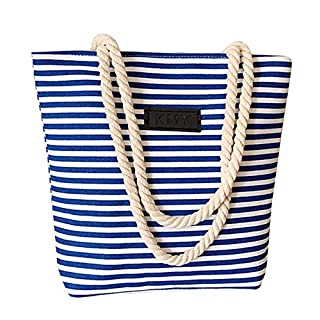 AIYoo Women Ladies Canvas Beach Bag with Zip,Causal Shopping Bag Shopper Tote Shoulder Bag School Bag,Stripes Holiday Shopping Bag for Women Ladies and Girls