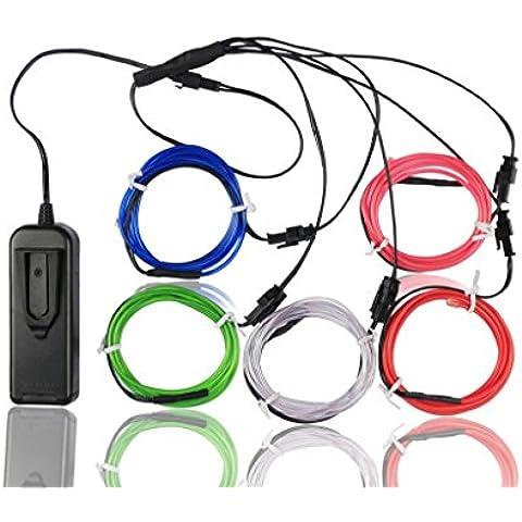 Alambre electroluminiscente (EL Wire) Splitter 5 X 1 Metros Resplandeciente efecto estroboscópico Neon Light Set (Multi-color)