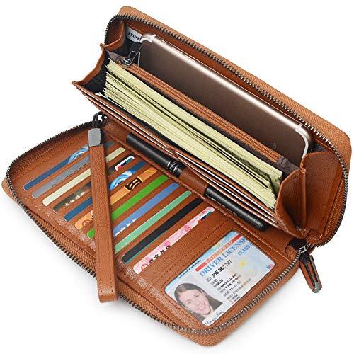 Portmonee Damen mit RFID Schutz Geldbeutel, Portemonnaie, Geldbörse, Brieftasche, Damengeldbeutel, Damengeldbörse lang groß viele fächer Leder Reissverschluss(Braun)