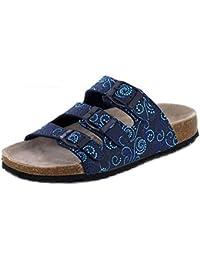 Indigo Supersoft Damen Pantolette mit 3 Schnallen blau multifarben