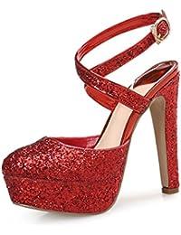 DIMAOL Zapatos de Mujer Brillante Glitter Paillette Microfibra Sintético PU Primavera Otoño Slingback Heels Stiletto...