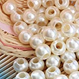 Angel Malone 50 x 12mm Ivory Large Hole Faux Pearl Beads, Leather Kumihimo European Crafts