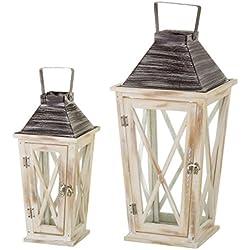 Set de 2 faroles portavelas clásicos beige de madera para decoración Bretaña - Lola Derek