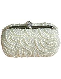 F9Q Wave élégant Modèle Perles Perles Cristaux Fermoir Boîtes Cocktail Soir Sac