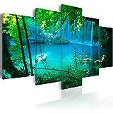 murando - Bilder 100x50 cm - Vlies Leinwandbild - 5 Teilig - Kunstdruck - Modern - Wandbilder XXL - Wanddekoration - Design - Wand Bild - See Wasserfall c-A-0002-b-n