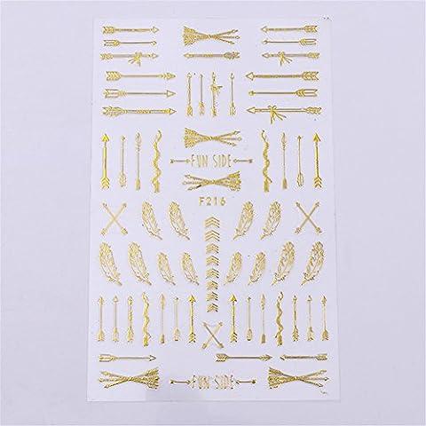 coulorbuttons 1Bogen Pfeil Feder 3D Nail Sticker Selbstklebend Nail-Stamping-Art Aufkleber DIY Dekoration Tools gold
