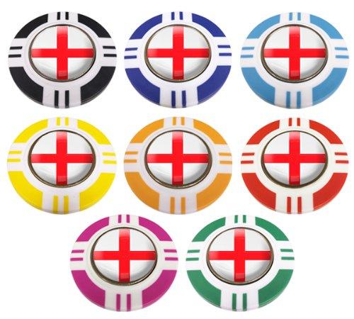 England CRESTED Vegas Style Poker Chip Golf Ball Marker. Außen rot.