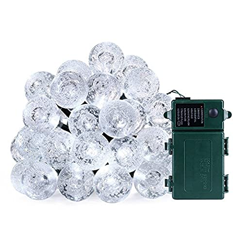 lederTEK, LED Lichterkette Batterie Außen Weiß 3,3m 30 LED 8 Modi Kugel Außenlichterkette Wasserdicht Weihnachtsbeleuchtung Beleuchtung für Außen Garten