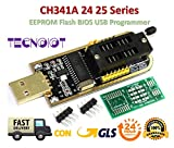 TECNOIOT CH341A 24 25 Series EEPROM Flash BIOS USB Programmer with Software & Driver | CH341A Programmatore USB Flash BIOS per 24 Serie EEPROM 25 SPI