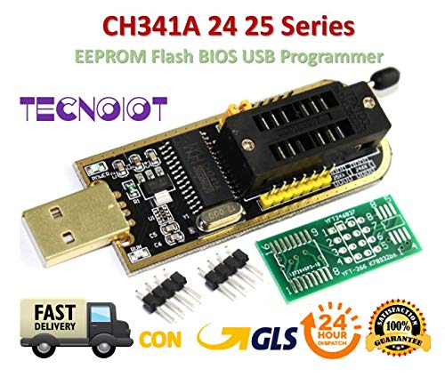 TECNOIOT CH341A 24 25 Series EEPROM Flash BIOS USB Programmer with Software & Driver | CH341A Flash BIOS USB Programmierer für 24 EEPROM 25 SPI Serie -