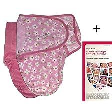 SwaddleMe M2P+MP2BP, 2 Stück: Neugeborenes/Mikrofleece/rosa und Blumen auf rosa - Ganzkörper-Pucksack ist ideal bei Schreibabys. Small.