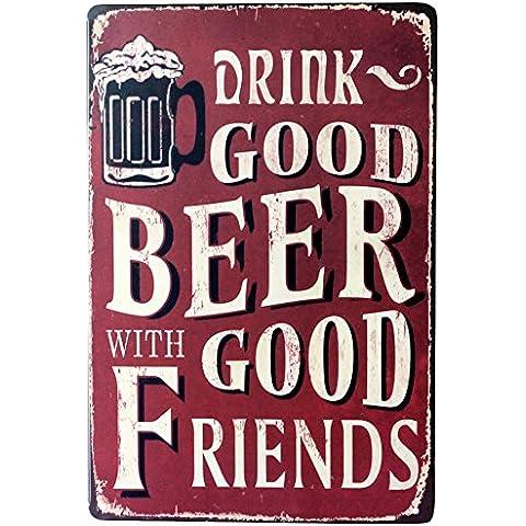 Tin Sign Publicidad de cerveza cerveza fría aquí metal Sign plauqe Decor de pared para Retro Bar Pub, metal, F, talla única