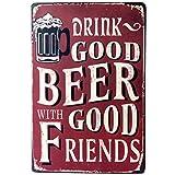 Plaque en métal publicitaire Bière Cold Beer Here Panneau Poster plauqe Decor mural pour bar pub rétro vintage, Métal, F, Taille unique